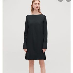 COS   Black Jersey Dress With Contrast Detail NEW